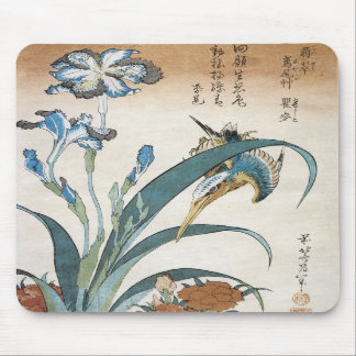 Kingfisher with Irises, Hokusai, 1834 Mousepad
