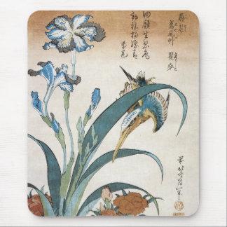 Kingfisher with Irises, Hokusai, 1834 Mousepad