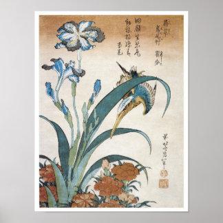 Kingfisher with Irises, Hokusai, 1834 Poster