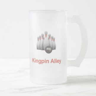 Kingpin Alley Bowling Frosted Glass Mug