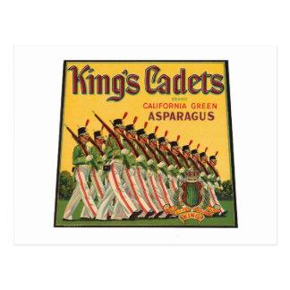 King's Cadets Vintage Asparagus Label Postcard
