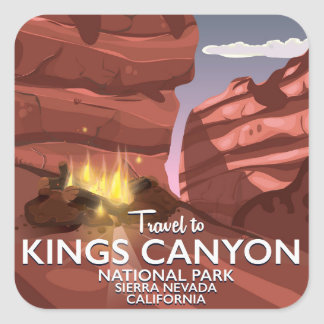 Kings Canyon Sierra Nevada Travel poster Square Sticker