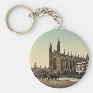 King's College, Cambridge, England vintage Photoch Basic Round Button Key Ring