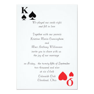 "Kings & Queens Playing Card Wedding Invitation (4) 5"" X 7"" Invitation Card"