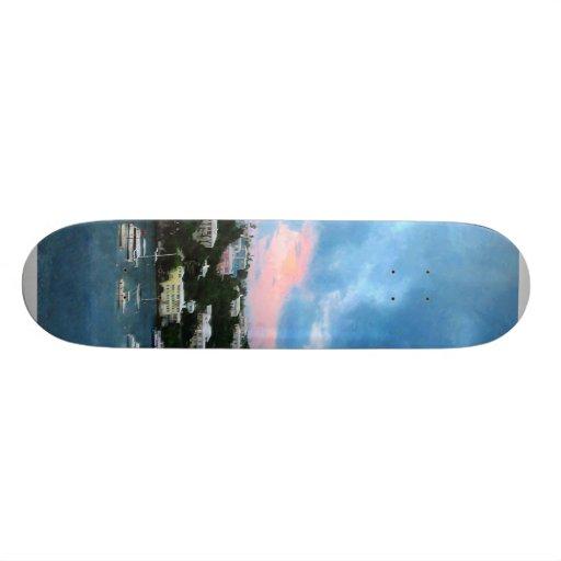 King's Wharf Bermuda Harbor Sunrise Skate Board Deck