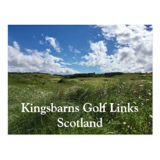 Kingsbarns Golf Links Greens in sun Fife, Scotland Postcard