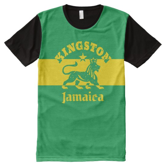 Kingston Jamaica Vintage Rasta Lion All-Over Print T-Shirt