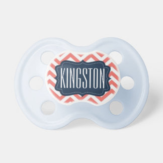 """Kingston"" Personalized Name - Chevron Print Baby Pacifiers"