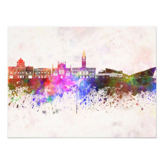 Kingston Upon Hull skyline in watercolor backgroun Photo Print