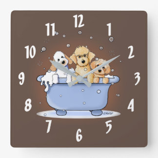 KiniArt Bath Doods Square Wall Clock