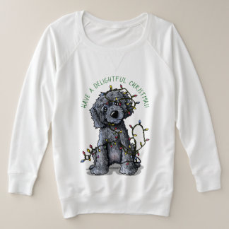KiniArt Black Doodle Delightful Christmas Plus Size Sweatshirt