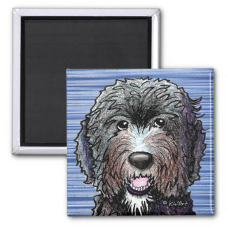 KiniArt Black Doodle Square Magnet