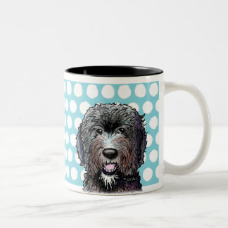 KiniArt Black Doodle Two-Tone Coffee Mug