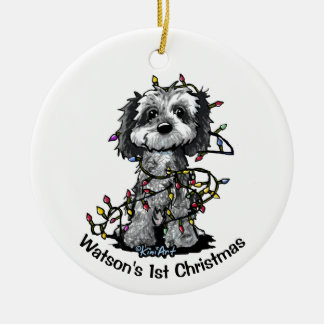 KiniArt Blue Merle Cockapoo Christmas Ornament