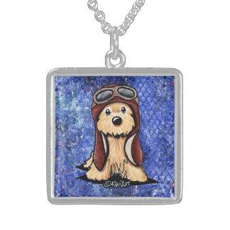 KiniArt Cairn Terrier Pilot Square Pendant Necklace