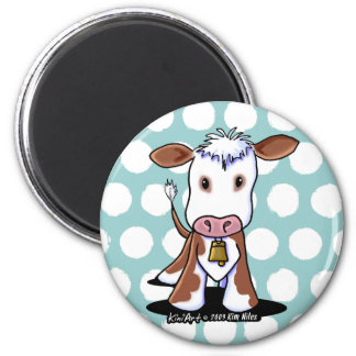 KiniArt Cow 6 Cm Round Magnet