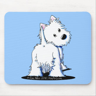 KiniArt Fluffy Butt Westie Mouse Mat