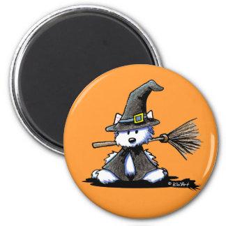 KiniArt Halloween Westie Witch 6 Cm Round Magnet