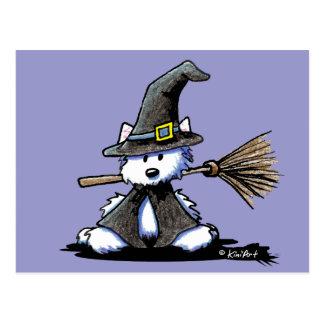 KiniArt Halloween Westie Witch Post Card