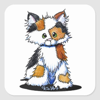 KiniArt Patches Calico Kitten Square Sticker