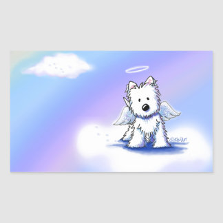 KiniArt Rainbow Bridge Westie Rectangular Sticker