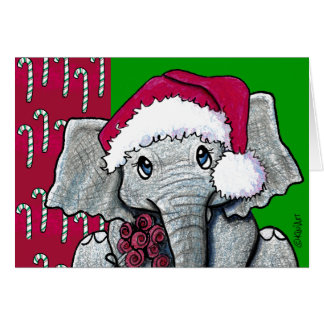 KiniArt Santa Elephant Card