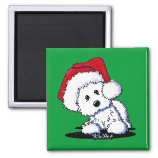 KiniArt Santa Westie Dog Magnet 2 Inch Square Magnet