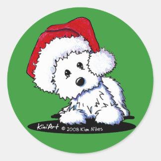 KiniArt Santa Westie Dog Stickers