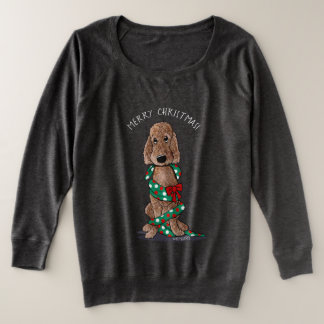 KiniArt Shaved Chocolate Doodle Christmas Plus Size Sweatshirt