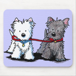 KiniArt Terrier Walking Buddies Mouse Mat