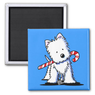 KiniArt Westie Candy Cane Blue Magnet