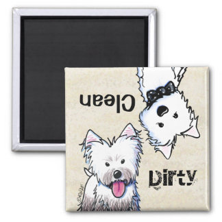 KiniArt Westie Clean Dirty Dishwasher magnet