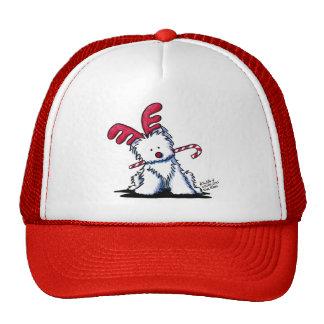 KiniArt Westie Dog Reindeer Cap