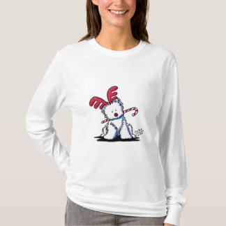 KiniArt Westie Dog Reindeer T-Shirt