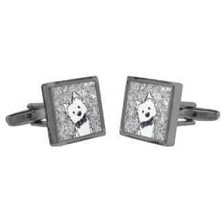 KiniArt Westie Glamour Boy Cufflinks Gunmetal Finish Cuff Links