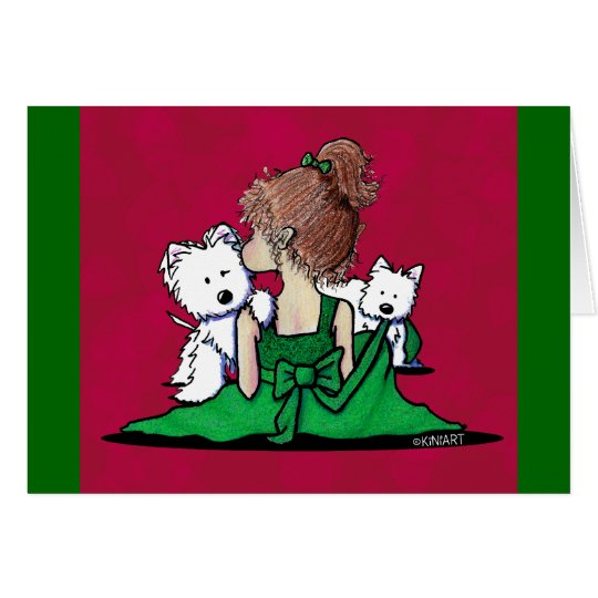 KiniArt Westie Kisses Christmas Card