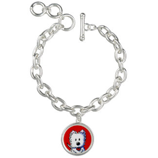 KiniArt Westie On Red Charm Bracelet