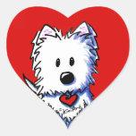 KiniArt Westie Red Heart Stickers