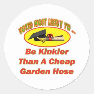 Kinky Garden Hose Round Sticker