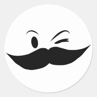 Kinky Mustache Round Sticker
