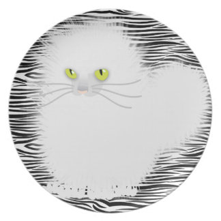 Kinky White Kitty Dinner Plates