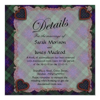 Kinmount clan Plaid Scottish kilt tartan 13 Cm X 13 Cm Square Invitation Card