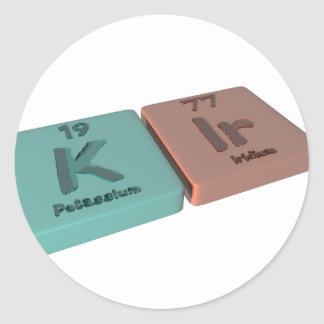 Kir as K Potassium and Ir Iridium Round Sticker