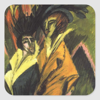 Kirchner: Two Women in the Street, Square Sticker