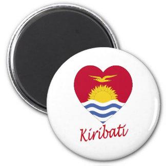Kiribati Flag Heart 6 Cm Round Magnet