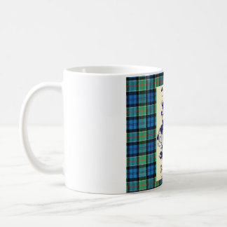 Kirkpatrick Crest on AncientColquhoun Tartan Coffee Mug