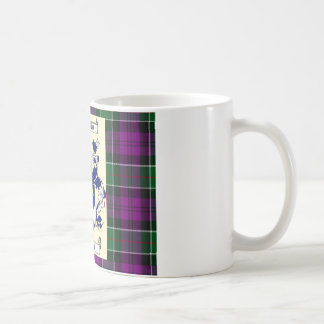 Kirkpatrick Crest on Couquhoun Purple Tartan Coffee Mug