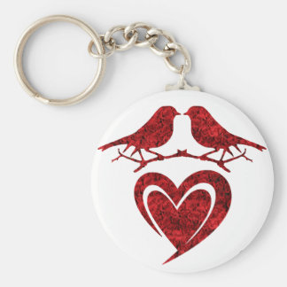 KIS off Birds Keychain - Heart with Red Pinks