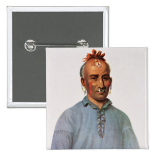 Kish-Kal-Wa, a Shawnee Chief 15 Cm Square Badge
