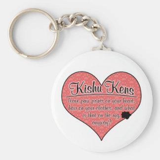 Kishu Ken Paw Prints Dog Humor Basic Round Button Key Ring